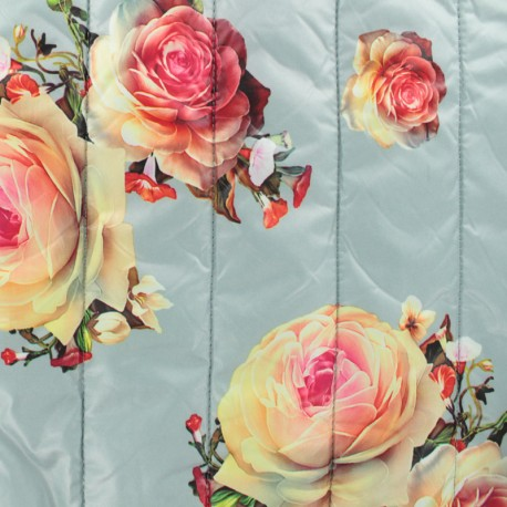 Tissu matelassé nylon doudoune Roses - Argent x 20cm