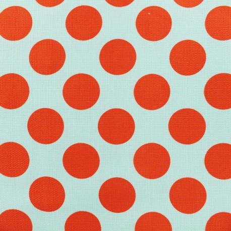 Elastane Cotton fabric - Blue/red Dot  x 10cm