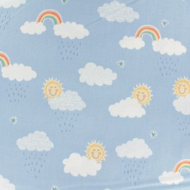 Makower UK cotton fabric Clouds - sky blue x 10cm