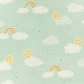 Makower UK cotton fabric Clouds - Mint green x 10cm