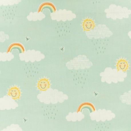 Tissu coton Makower UK Clouds - vert menthe x 10cm