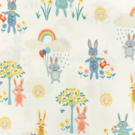 Makower UK cotton fabric Bunnies - white x 10cm