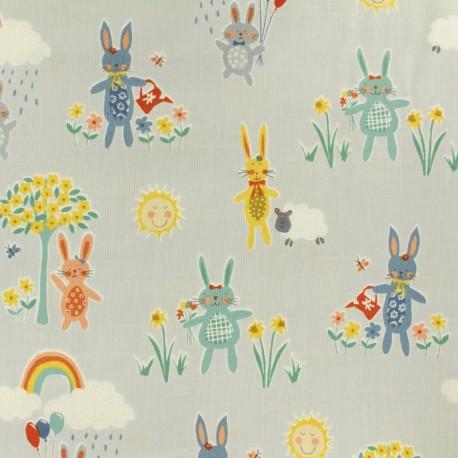 Tissu coton Makower UK Bunnies - gris x 10cm