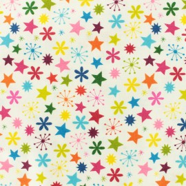Tissu coton Makower UK Joyeux Stars - blanc x 10cm