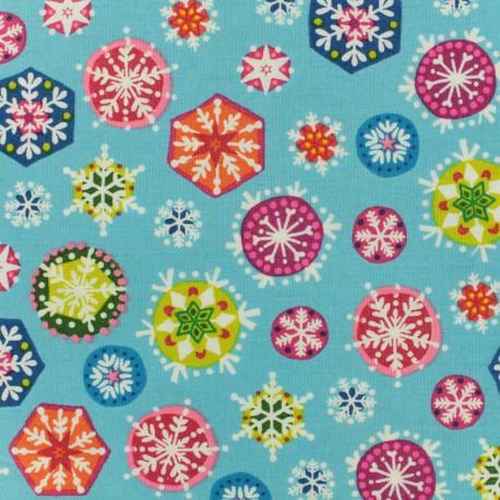 Makower UK cotton fabric Joyeux Snowflakes - sky blue x 10cm