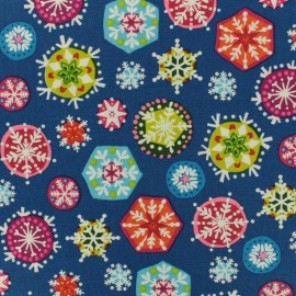 Makower UK cotton fabric Joyeux Snowflakes - deep blue x 10cm