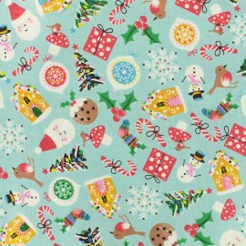 Tissu coton Makower UK Jolly Santa Icons - bleu ciel x 10cm