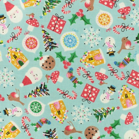 Makower UK cotton fabric Jolly Santa Icons - sky blue x 10cm