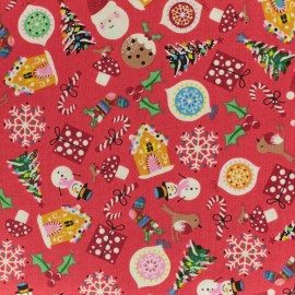 Makower UK cotton fabric Jolly Santa Icons - red x 10cm