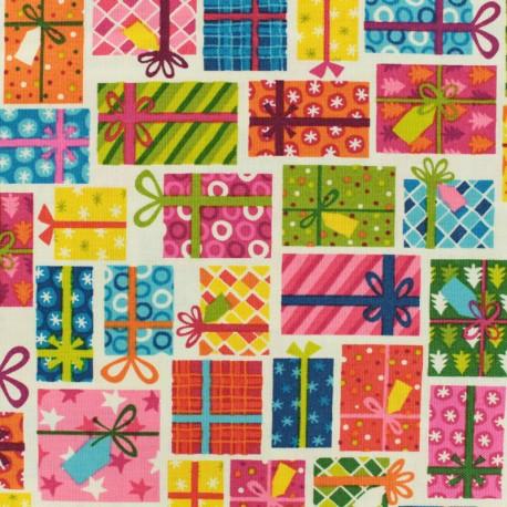 Makower UK cotton fabric Jolly Santa Icons - red x 10cm