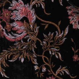 EMbroidered velvet fabric - Black/pink Georgina x10cm