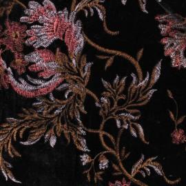 Tissu velours brodé Georgina - noir/Rose x10cm