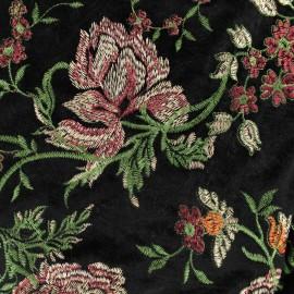 Tissu velours brodé Georgina - noir/orange x10cm
