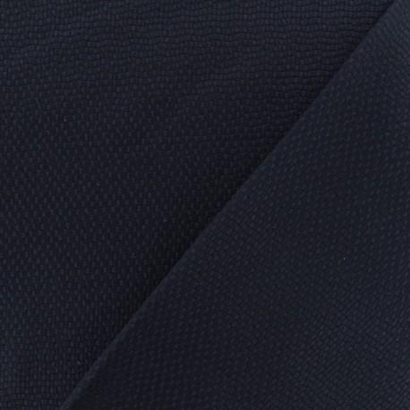 Waffle stitch cotton fabric - Navy blue x 10cm