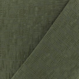 Tissu coton jacquard Archi - kaki x 10cm
