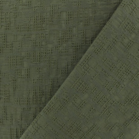Jacquard cotton fabric - khaki Archi x 10cm
