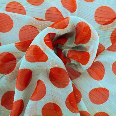Big dot muslin Fabric - orange and teal background x 10cm