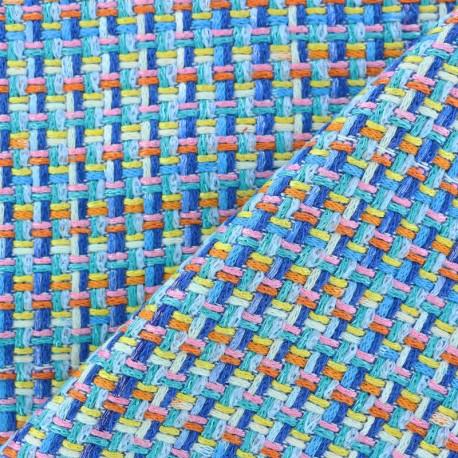Lurex Tweed fabric - Blue Amber x 10cm