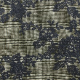 Prince de galles Tailleur fabric embroidered with flowers - black x 10cm