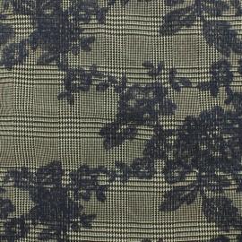 Tissu Tailleur Prince de galles brodé de fleurs - noir x 10cm