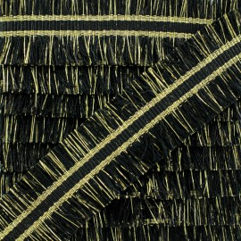 Double Fringe Braid Trimming - Black NightChik x 1m