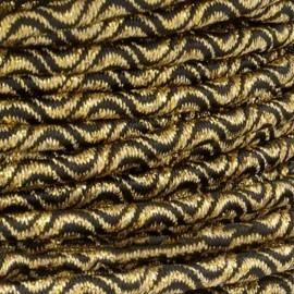 3 mm Elastic Cord - Gold/Black Vaguelette x 1m