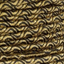 Cordon Élastique Vaguelette 3 mm - Doré/Noir x 1m