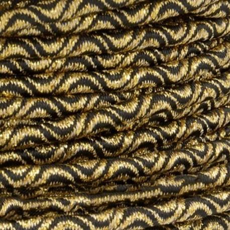 3 mm Elastic Cord - Gold/Black Vaguelette x 1m