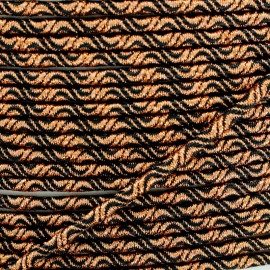 3 mm Elastic Cord - Cooper/Black Vaguelette x 1m