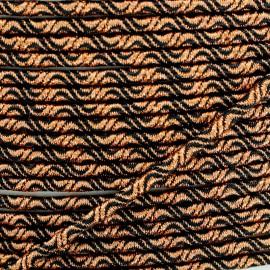 Cordon Élastique Vaguelette 3 mm - Cuivre/Noir x 1m
