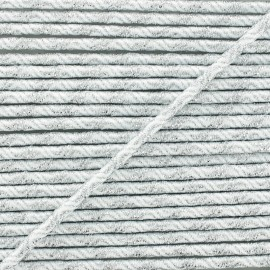 3 mm Elastic Cord - Silver/White Vaguelette x 1m