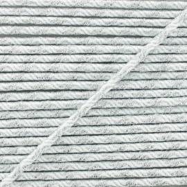 Cordon Élastique Vaguelette 3 mm - Argent/Blanc x 1m