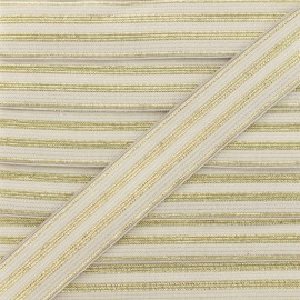 20 mm Striped Lurex Elastic Band - Pearly Grey Louis x 1m