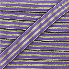 20 mm Striped Lurex Elastic Band - Purple Louis x 1m