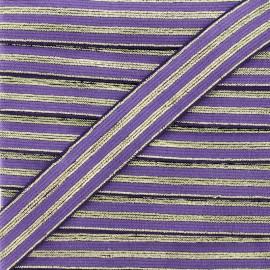 Ruban Élastique Rayé Lurex Louis 20 mm - Violet x 1m
