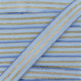 20 mm Striped Lurex Elastic Band - Sky Blue Louis x 1m