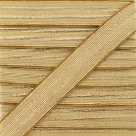 20 mm Striped Lurex Elastic Band - Beige Louis x 1m