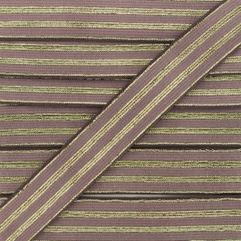 20 mm Striped Lurex Elastic Band - Ancient Mauve Louis x 1m