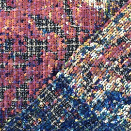 Sequins Tweed fabric - Blue Gloria x 10cm