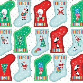 Makower UK cotton fabric  Advent calendar socks - white x 61cm