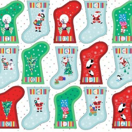 Tissu coton Makower UK Advent calendar socks - Blanc x 60cm