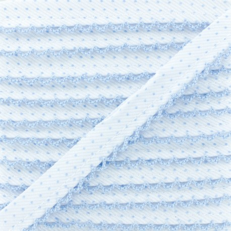 Passepoil à Pois Bord Crochet - Bleu Ciel x 1m