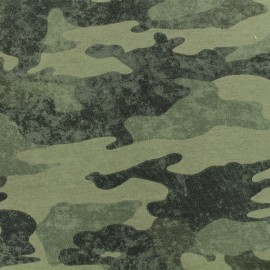 French Terry fabric - Green Camouflage  x 10cm