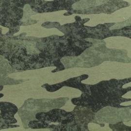 Tissu coton sweat léger Camouflage - vert x 10cm