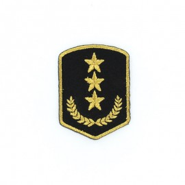 Military Laurel Iron-On Patch - Black