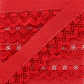 35 mm Lace Bias Binding - Red Aurora x 1m