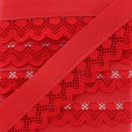 Biais Dentelle Aurora 35mm - Rouge x 1m