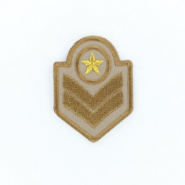 Military Rank Iron-On Patch - Brown
