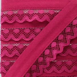 35 mm Lace Bias Binding - Raspberry Aurora x 1m