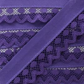 Biais Dentelle Aurora 35mm - Violet x 1m